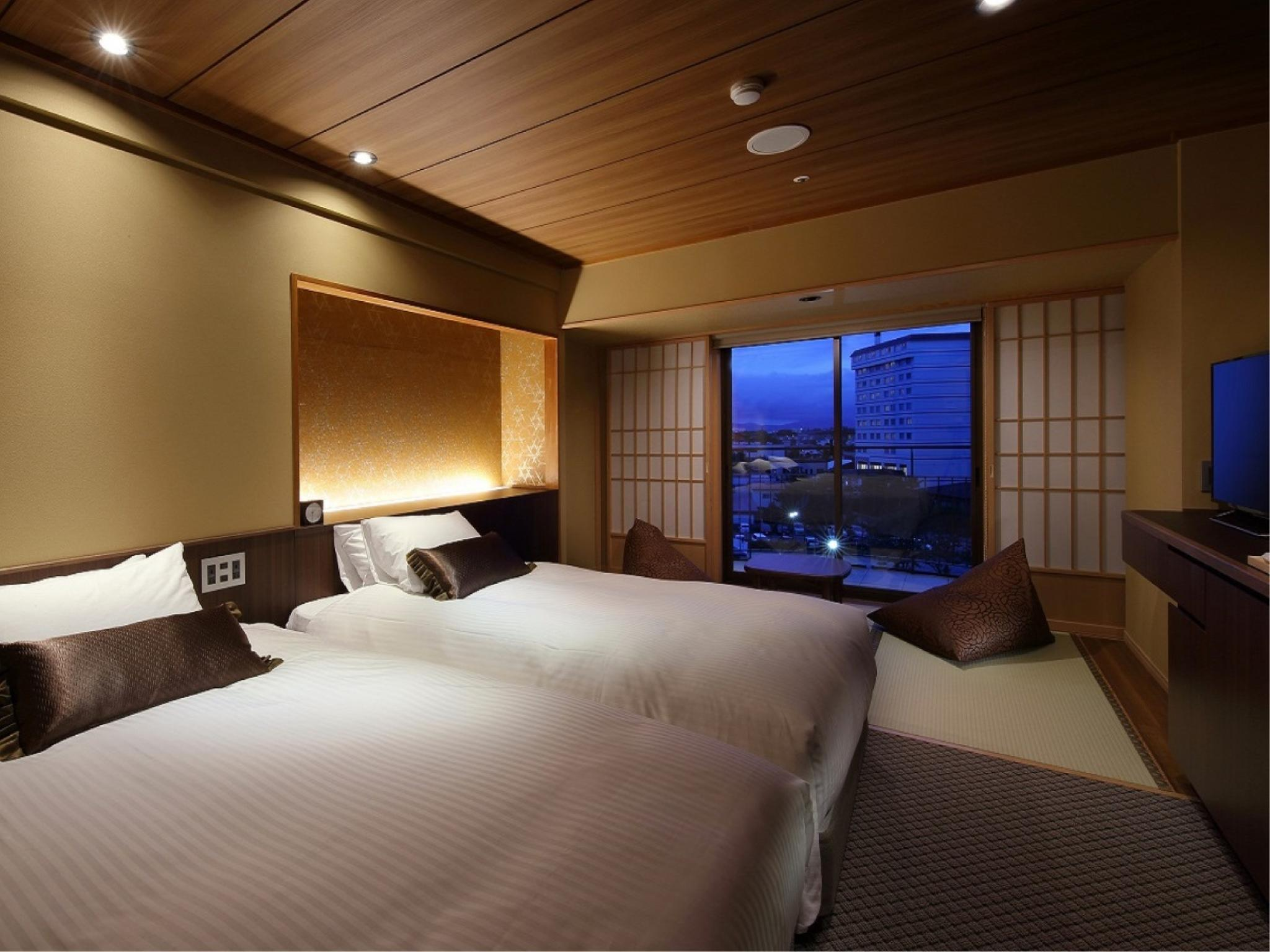 和洋式房+阳台(2张床) (Standard Japanese/Western-style Room with Balcony (2 Beds, Type B))