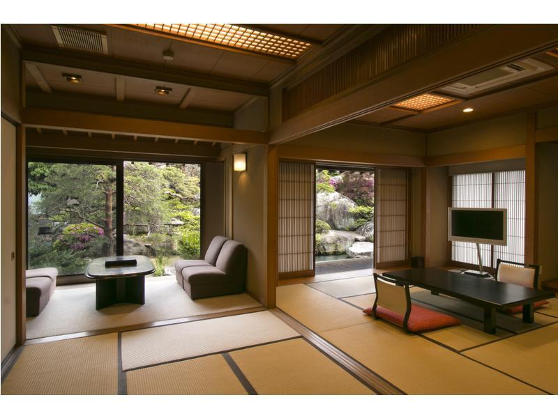 中の殿 和室2間+応接間 露天風呂付 喫煙 (Japanese-style Room with Open-air Bath & Reception Room (Nakanoden Type))