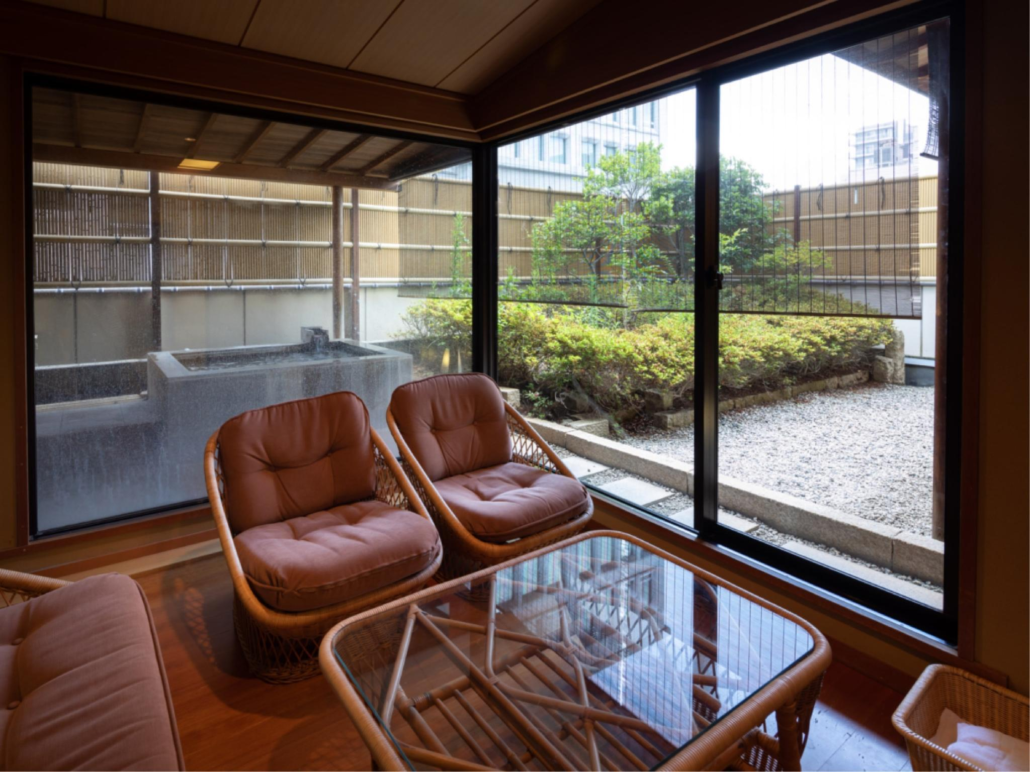 Japanese-style Room with Open-air Bath, Reception Room, and Garden
