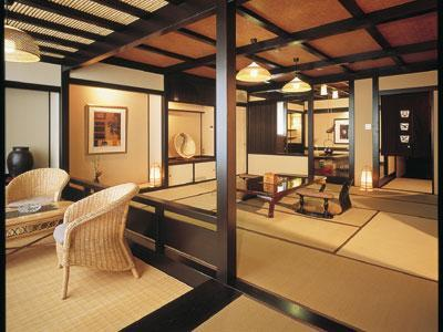 和洋式房 (Special Japanese/Western-style Room with Open-air Bath (2 Beds))