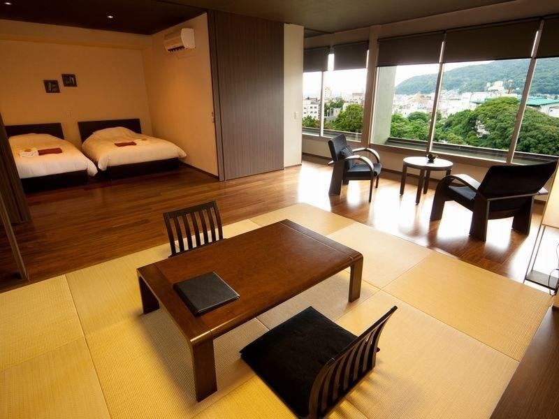 高級和洋式房+檜木風呂(2張床) (Premium Japanese/Western-style Room with Cypress Bath (2 Beds))