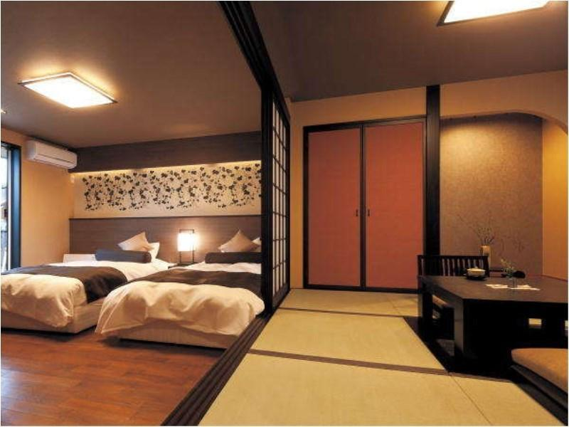 다다미 침대 객실(BETTEI SHIKISAI/KYARA・KAKITSUBATA/노천탕) (Japanese/Western-style Room with Open-air Bath (Kyara/Kakitsubata Type, Shikisai Building))