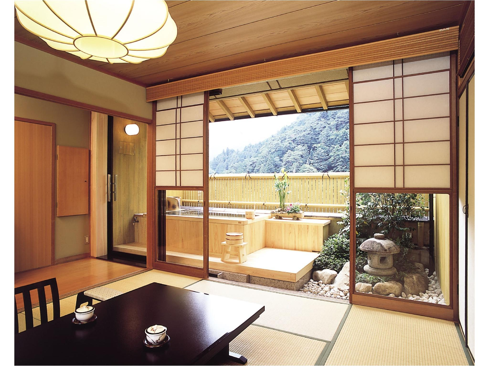 Japanese-style Room with Cypress Open-air Bath + Granite Stone Garden (Himeyuri-no-Ma Type, Main Building)