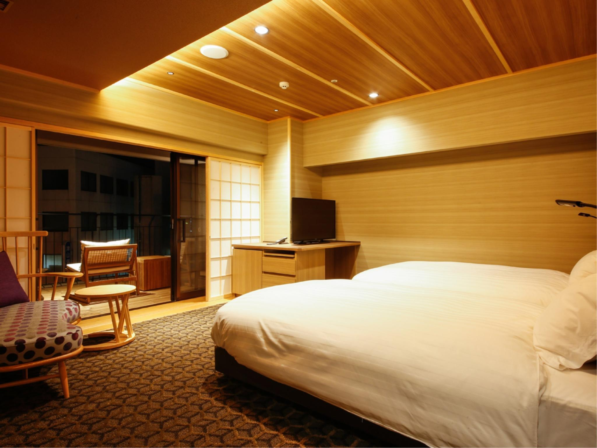 舒適樓層「三休」 包角雙人雙床房+露台 (Corner Twin Room with Terrace (Comfort Floor Miyasumi))