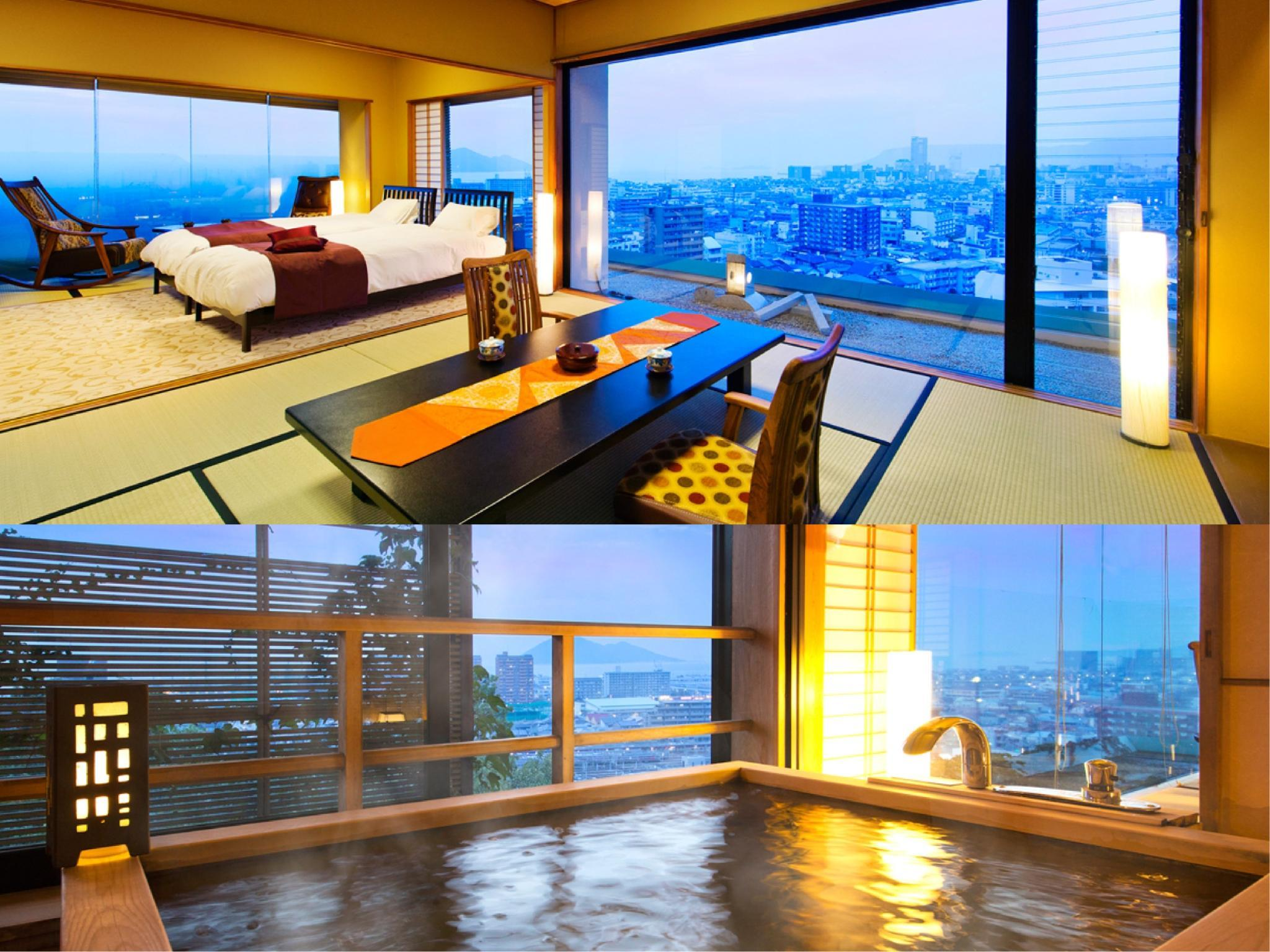 Special Japanese/Western-style Twin Room with Scenic View Natural Hot Spring Cypress Bath