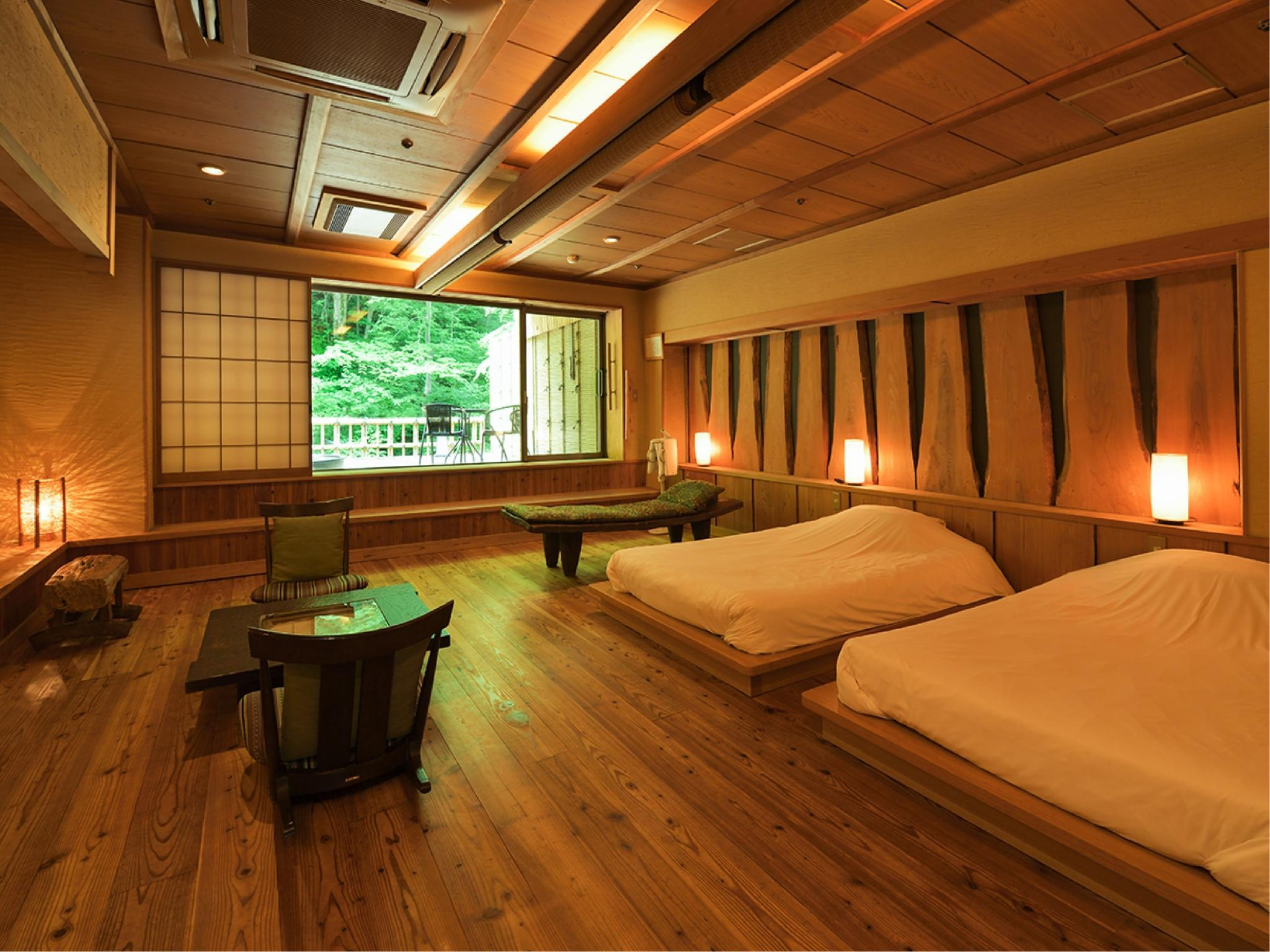 温泉俱乐部 宽敞双人双床房+温泉 (Wide Twin Room with Hot Spring Bath (Onsen Club))