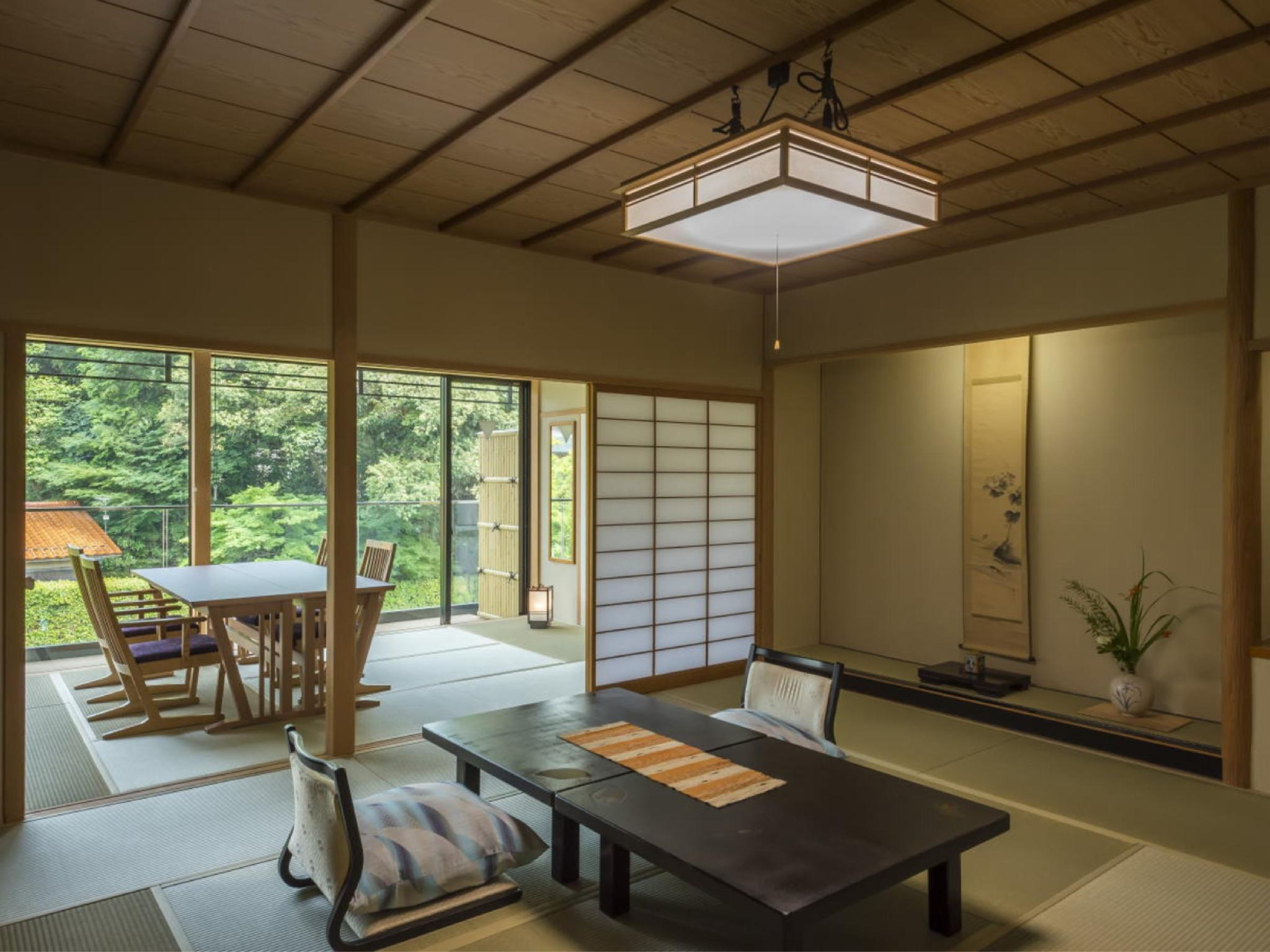 【古代紫】ひのき露天風呂付・和ベッド+ダイニング〈禁煙〉 (Japanese-style Room with Open-air Cypress Bath + Dining Room (Japanese-style Bed(s), Kodaimurasaki Type))