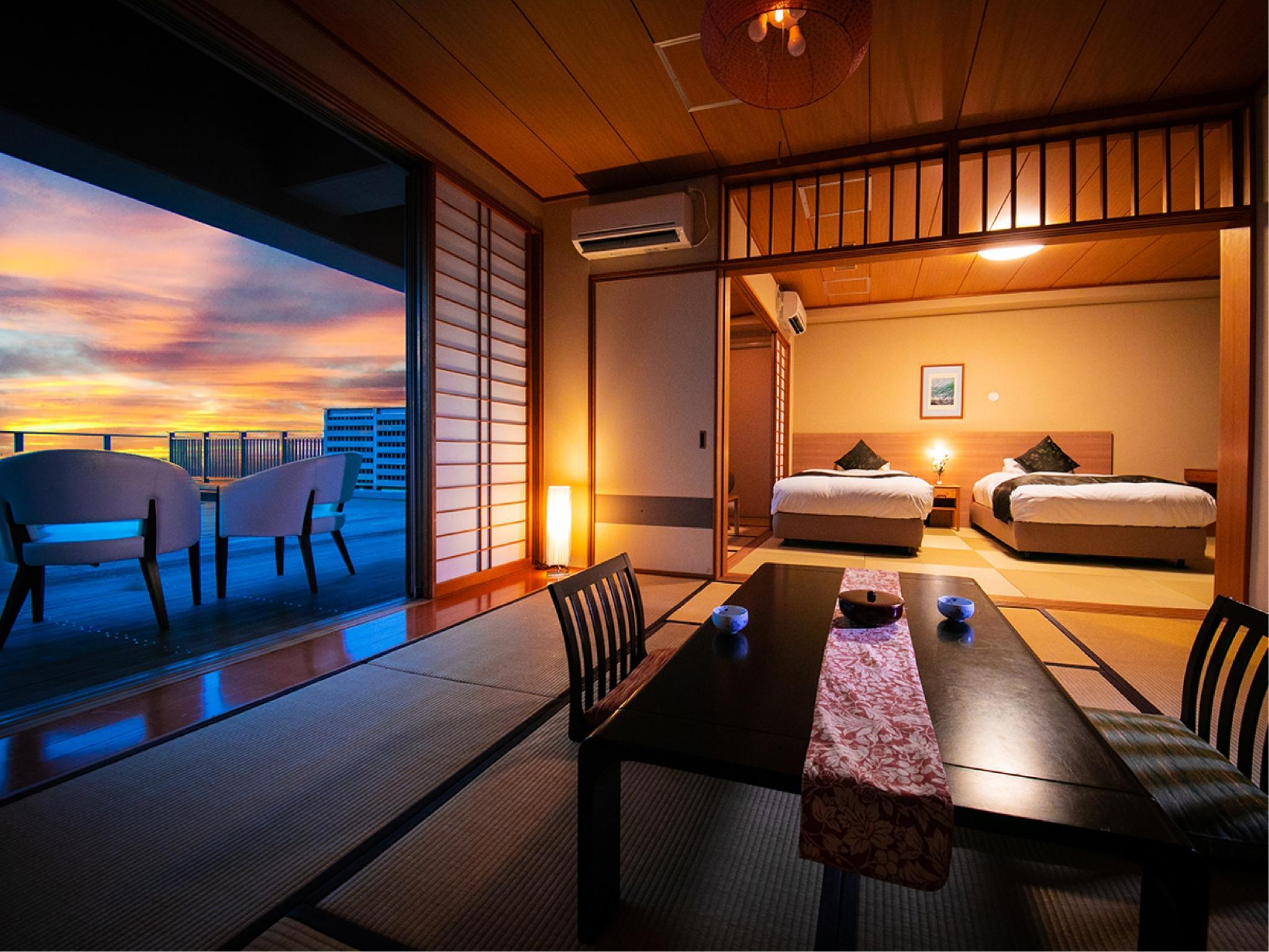 Japanese/Western-style Room with Hiroen Space & Terrace (Japanese-style Room + Twin Beds)