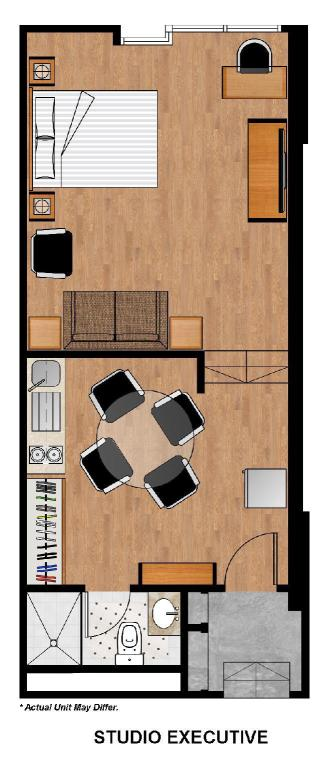 Studio Executive - Daily - Room plan Orchard Point Serviced Apartments (SG Clean Certified)