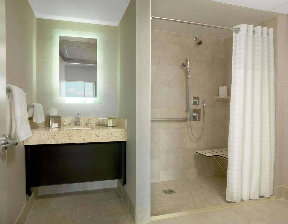 1 King Accessible Roll In Shower - Guestroom Doubletree by Hilton Cedar Rapids Convention Complex
