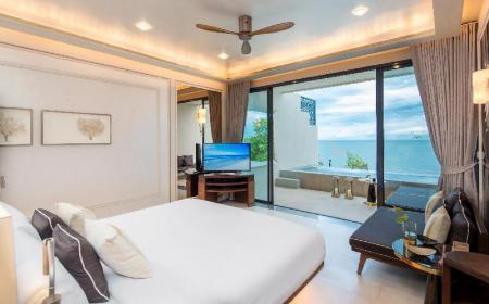 Svit mot stranden med pool - Sovrum Baba Beach Club Hua Hin Cha Am Luxury Pool Villa Hotel by Sri Panwa