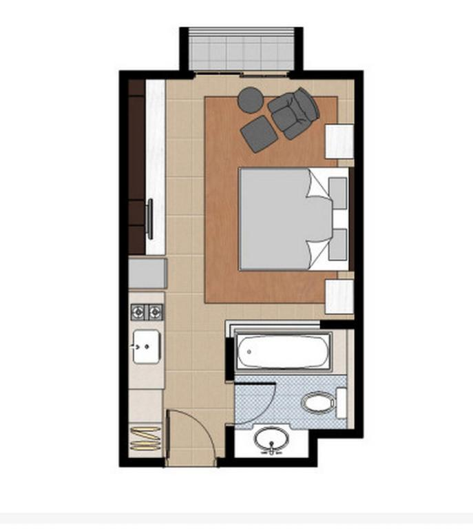 Floor plans Deluxe Room Havenwood Residence at TB Simatupang