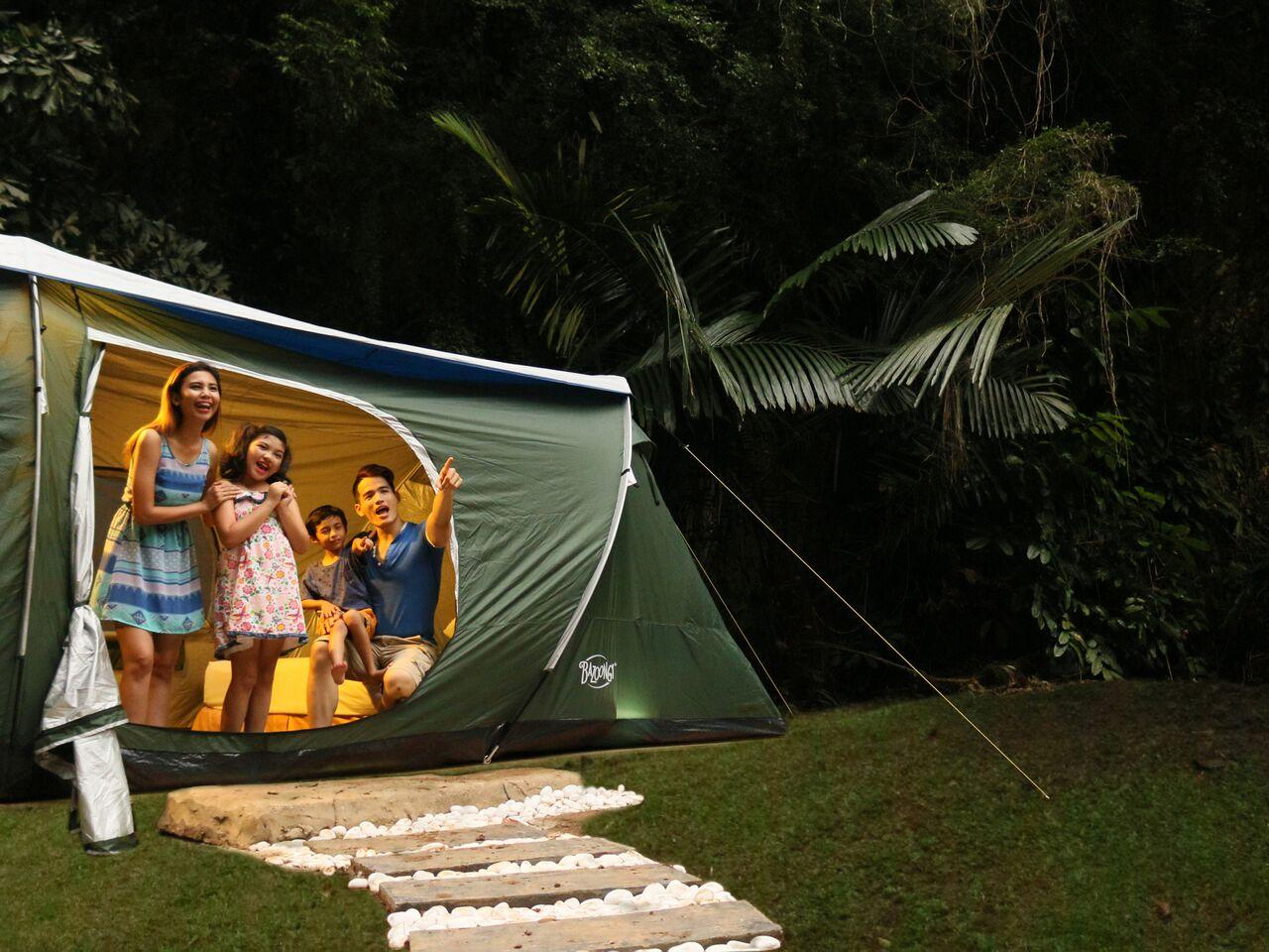 Lost World Outdoor Glamping for 2 Adults and 2 Children