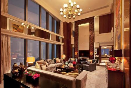 Chairman Suite, Executive lounge access, 1 King, City view - Room plan Shanghai Marriott Hotel City Centre