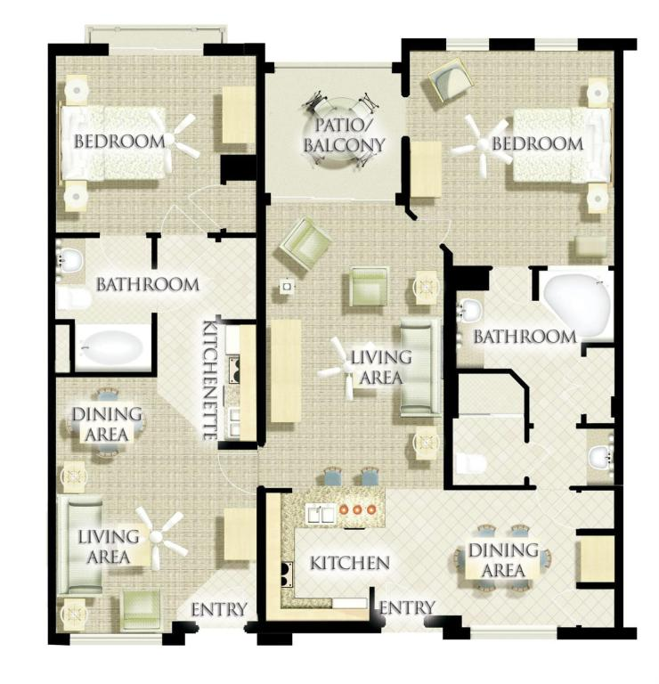 Premium Villa 2 Bedroom - Room plan