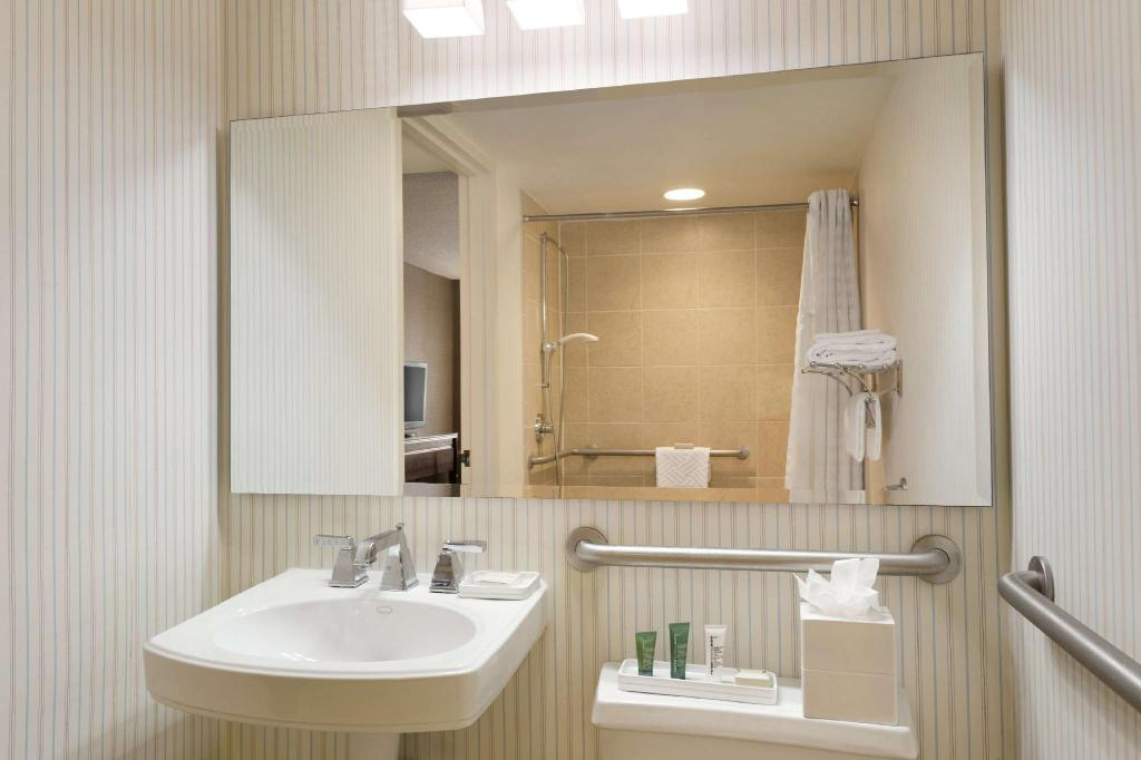 1 King Suite Mobility Hearing Accessible Roll In Shower - Guestroom Hilton Meadowlands