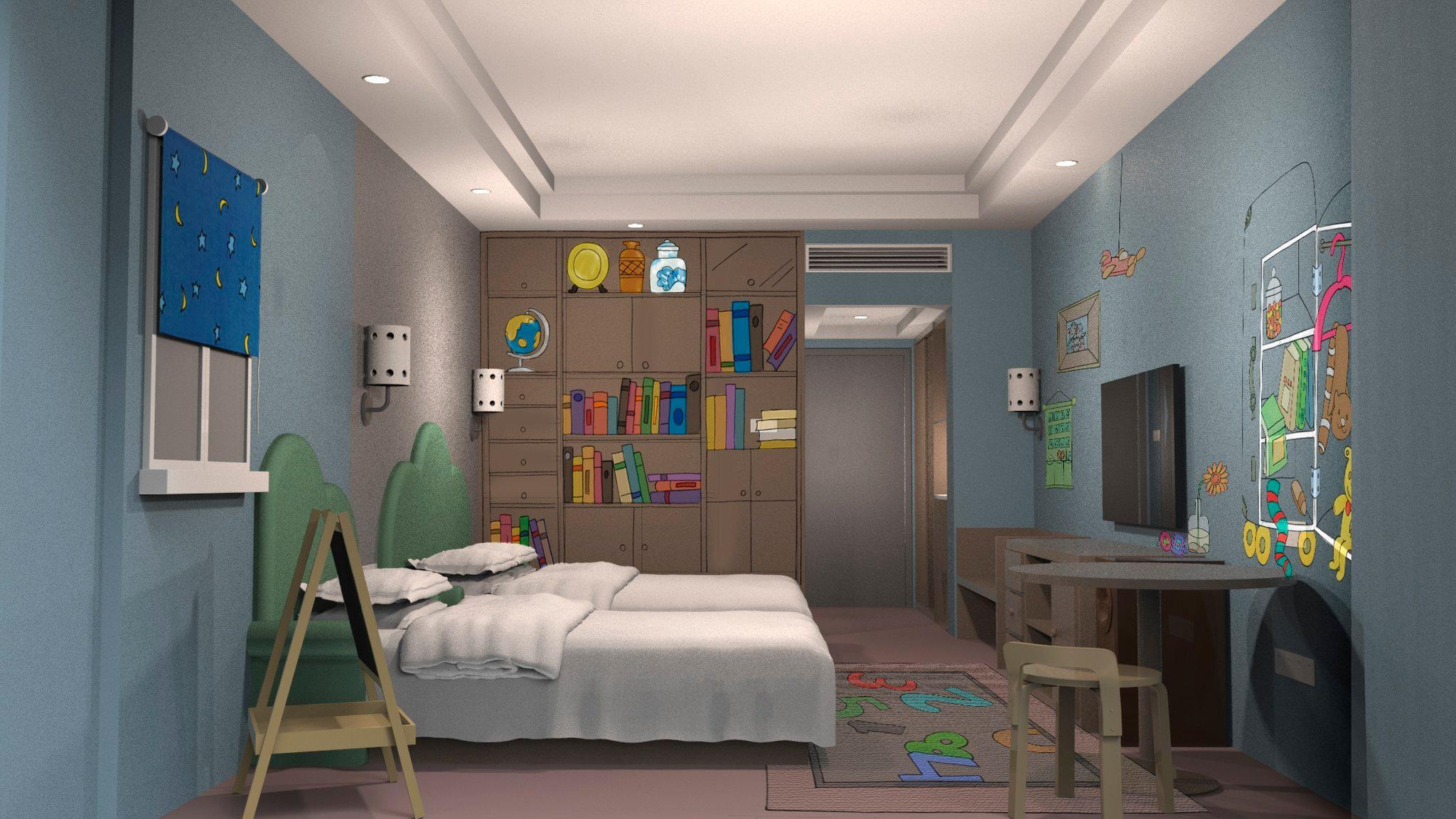 2 Single Bed Deluxe Kids Room Non-Smoking