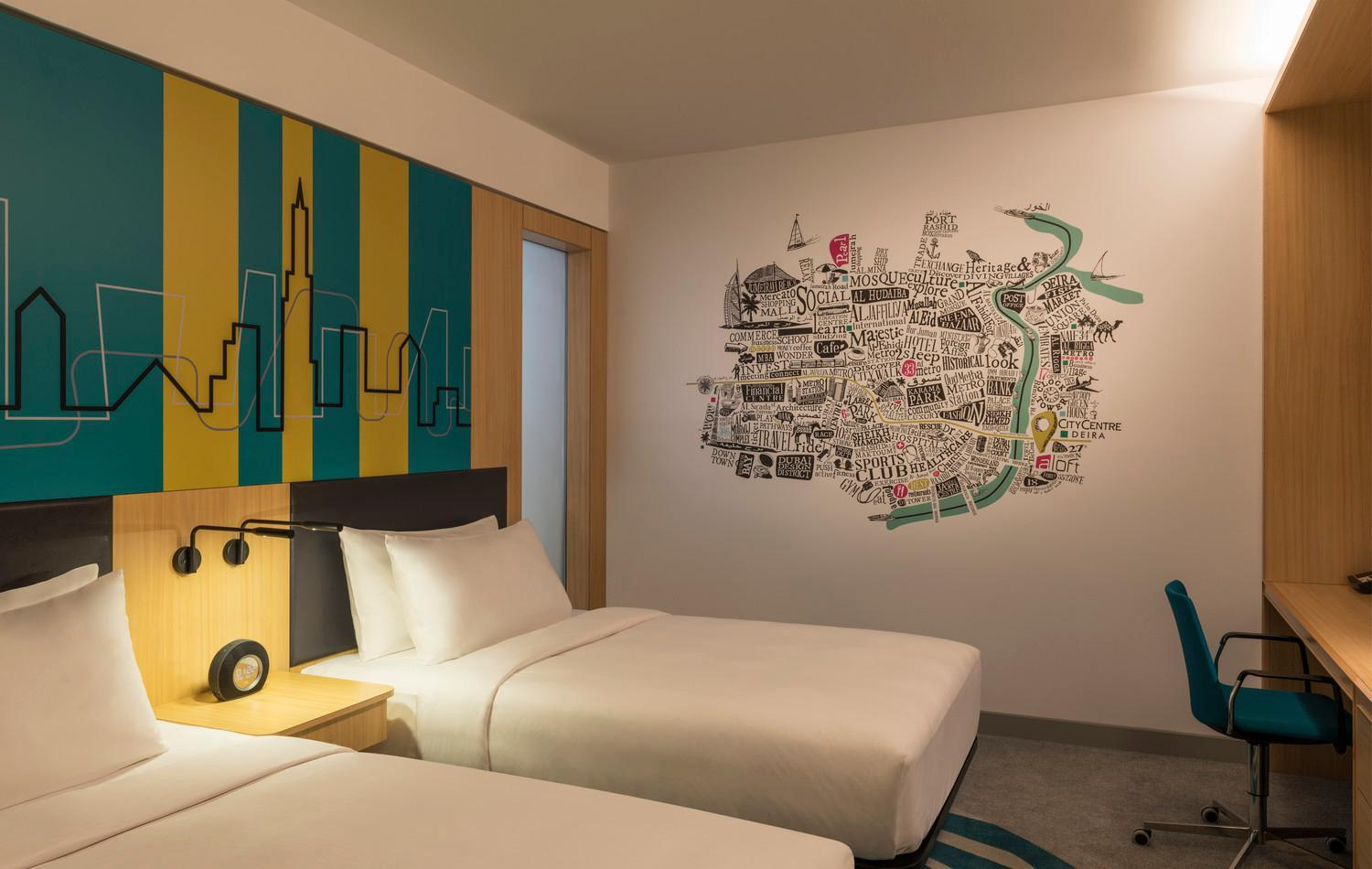 Aloft Room, Guest room, Twin/Single Bed(s), City view