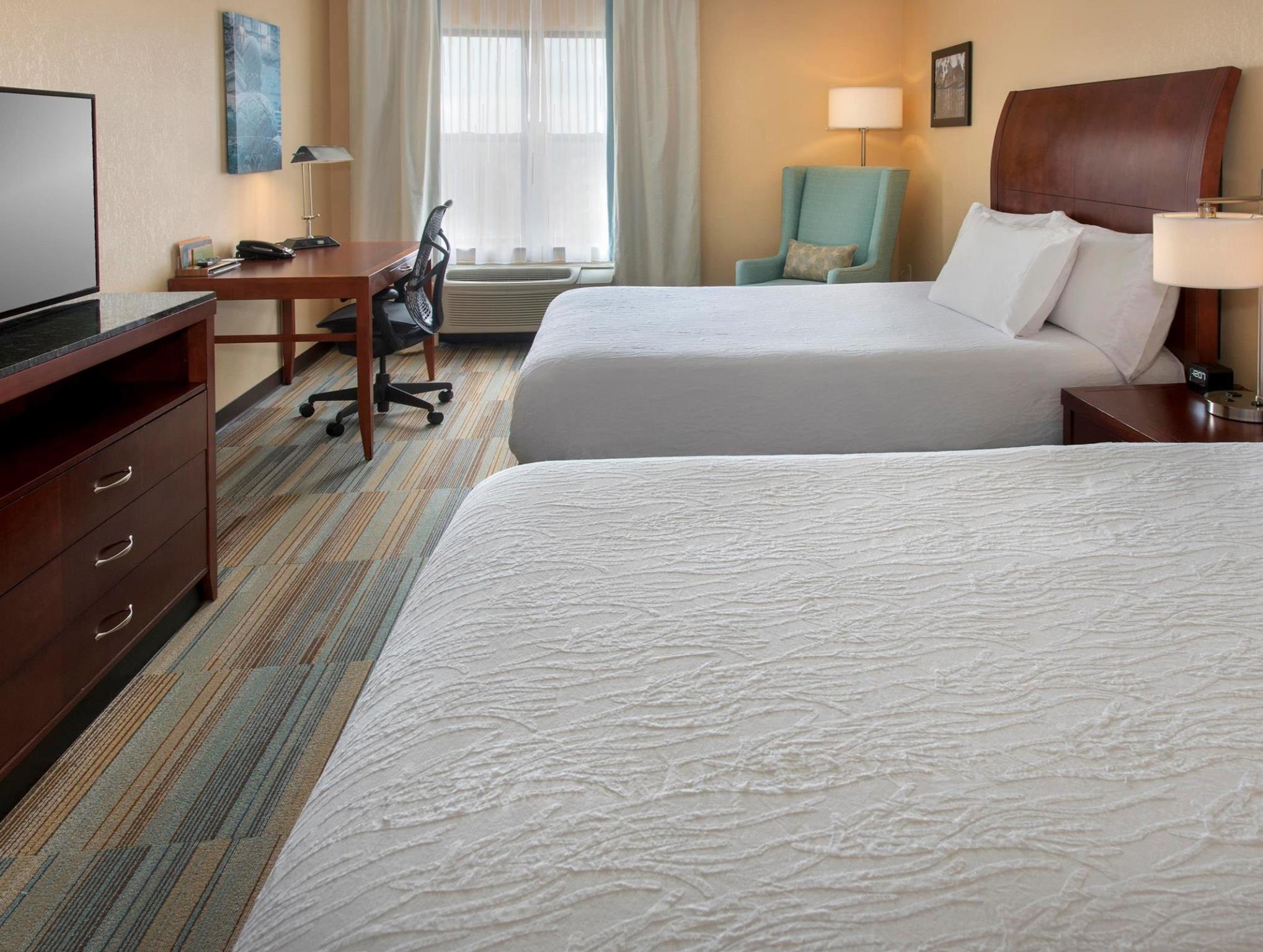2 Queen Accessible Room Roll In Shower   Guestroom Hilton Garden Inn Albany  Medical Center Hotel