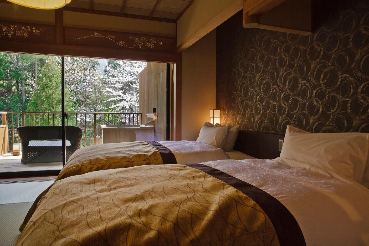 Zweibettzimmer im japanischen Stil mit eigenem Bad im Freien – nur für Erwachsene (Japanese Style Twin Room with Private Open-Air Bath - Adult Only)