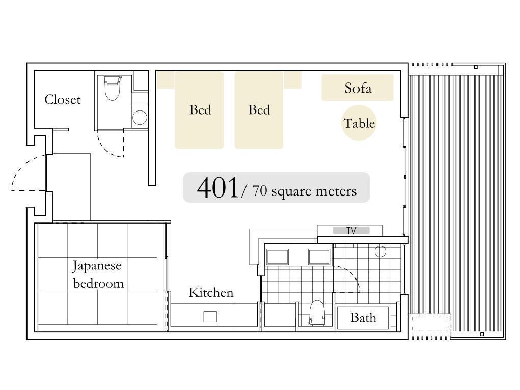 2-Bedroom 4th Floor River View Japanese Style Unit with Balcony