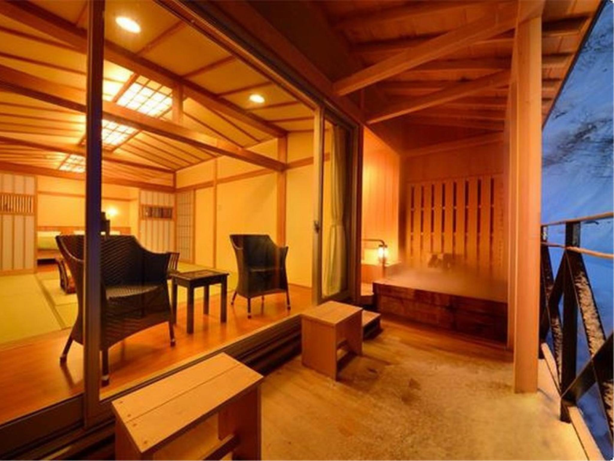 和洋式房+露天風呂 (Japanese/Western-style Room with Open-air Bath & Foot Bath)