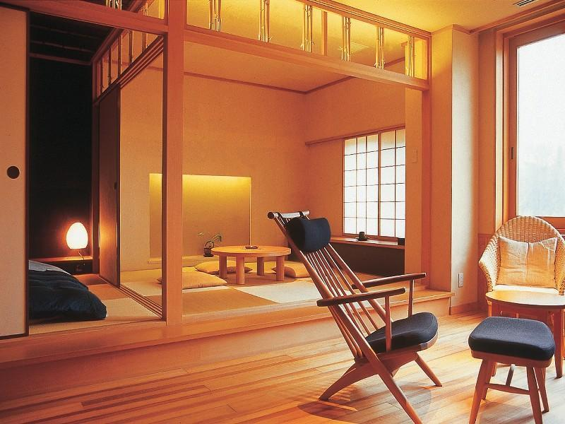 和式房+温泉桧木风吕 (Japanese-style Room with Natural Hot Spring Bath)