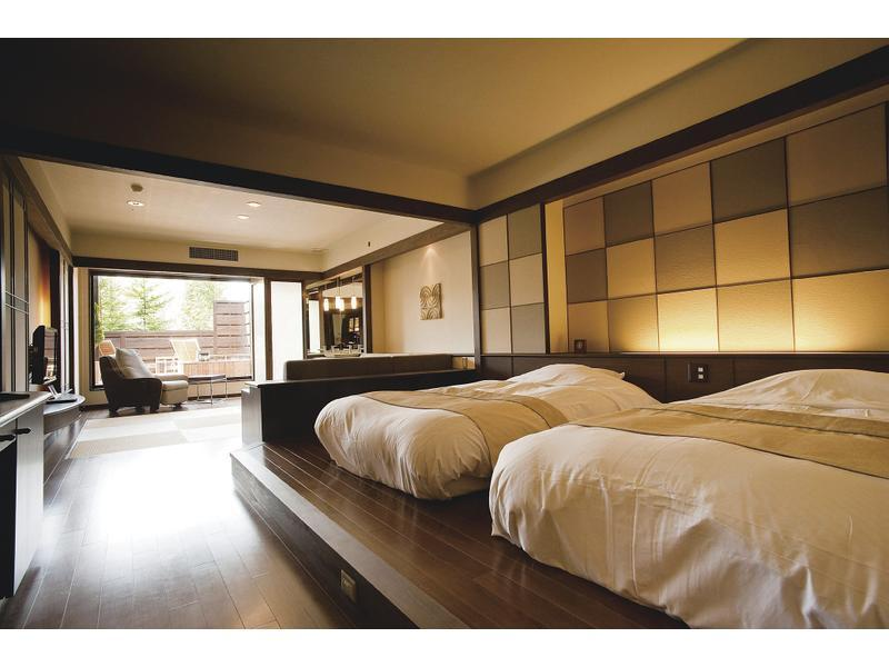 다다미 침대 객실(SANSUI-TEI/노천탕) (Japanese/Western-style Room with Open-air Bath (2 Beds))