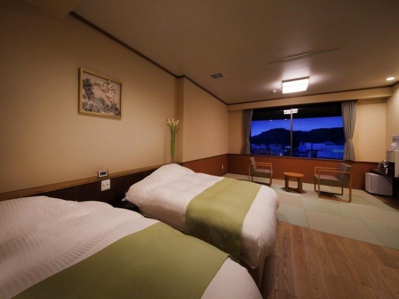 【桜】 (和洋室 ツインベッド+檜風呂)|50平米 (Japanese/Western-style Room with Cypress Bath (Twin Beds, Sakura Type))