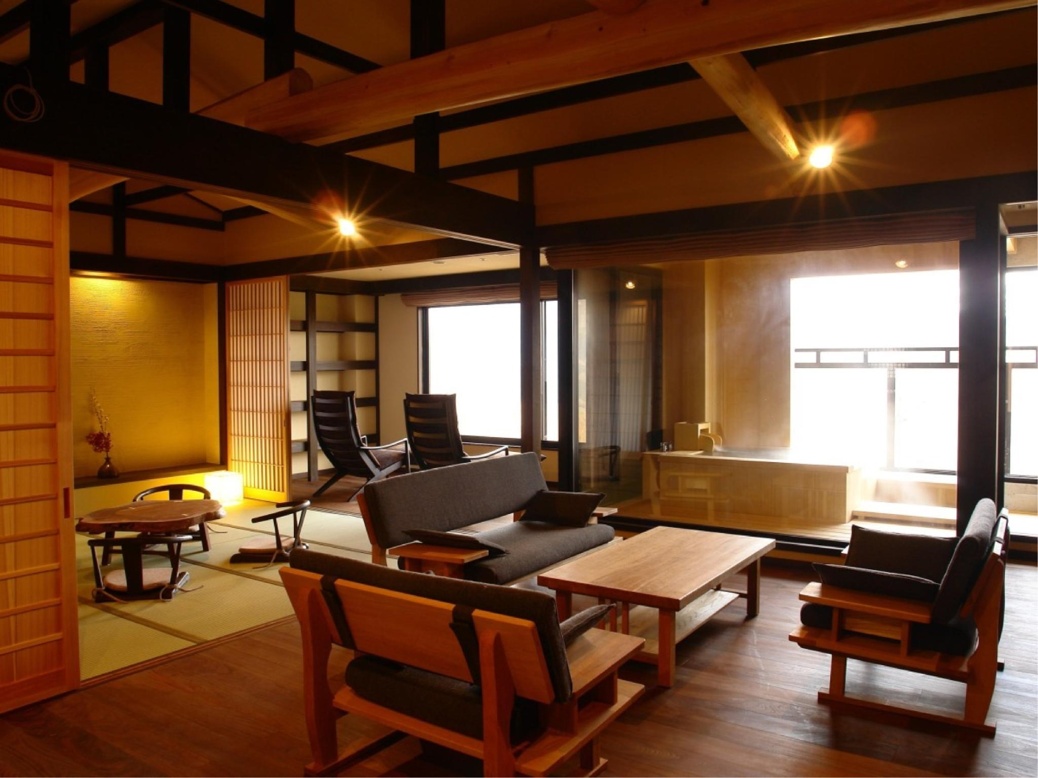 スイート|10畳+洋間12.4平米 (Special Japanese-style Suite with Open-air Bath (2 Beds))