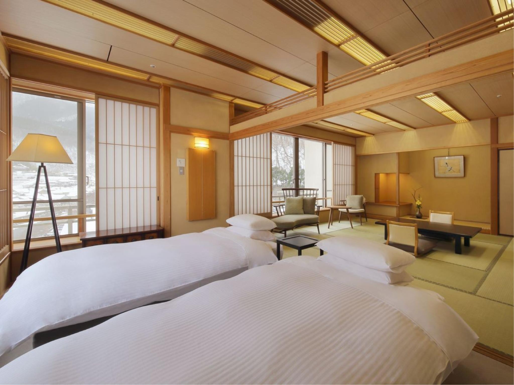Superior Japanese/Western-style Room with Cypress Indoor Bath (Japanese-style Room + Twin Room, Main Building)