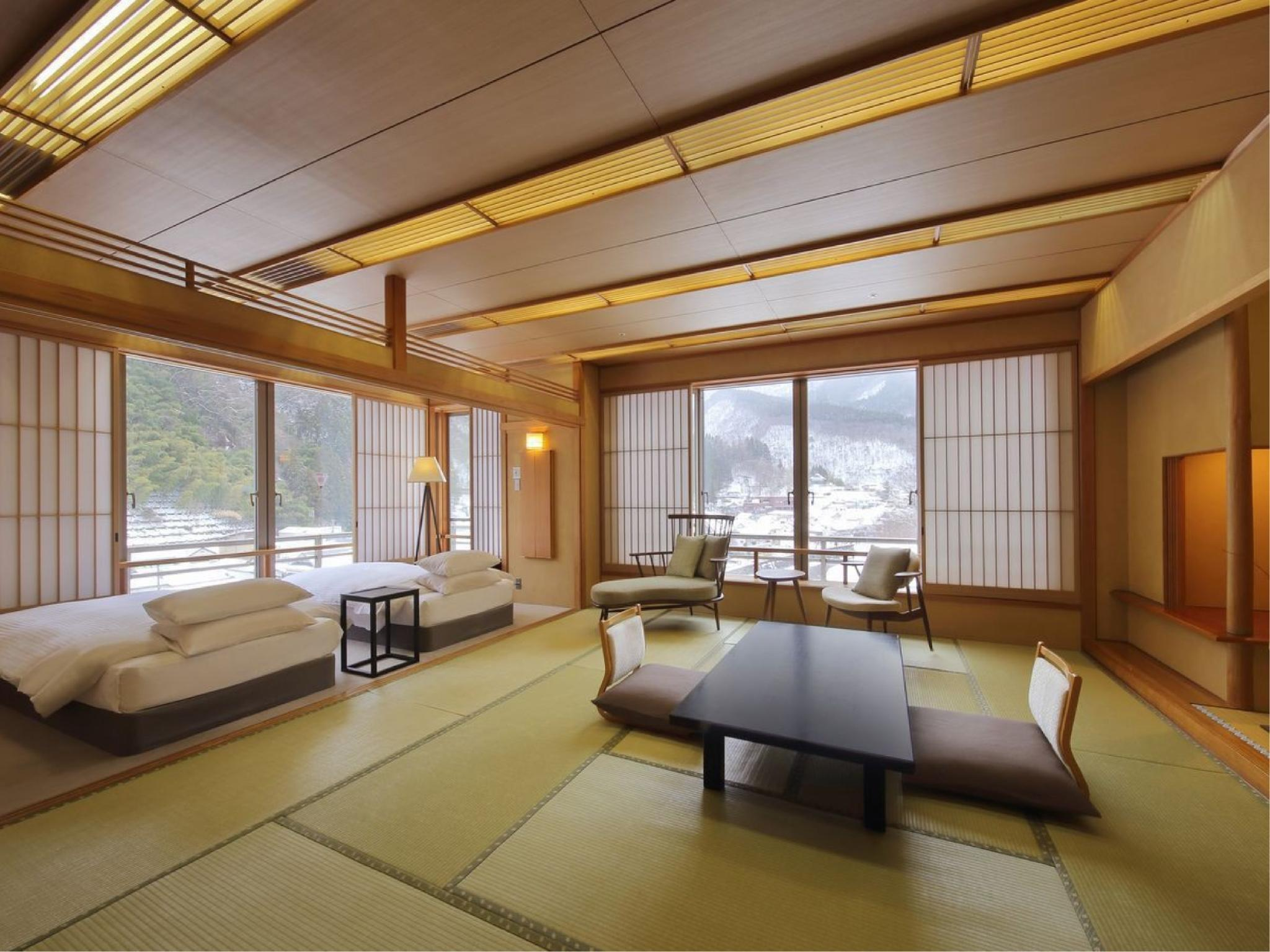 슈페리어 다다미 침대 객실(본관/다다미 객실+트윈/실내히노키탕) (Superior Japanese/Western-style Room with Cypress Indoor Bath (Japanese-style Room + Twin Room, Main Building))