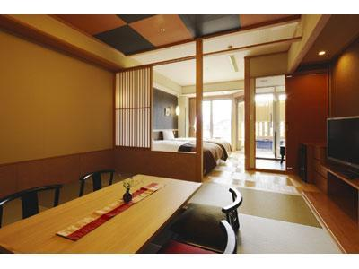 Modern Japanese/Western-style Room with Open-air Bath (2 Beds, Mine-no-Kai Annex)