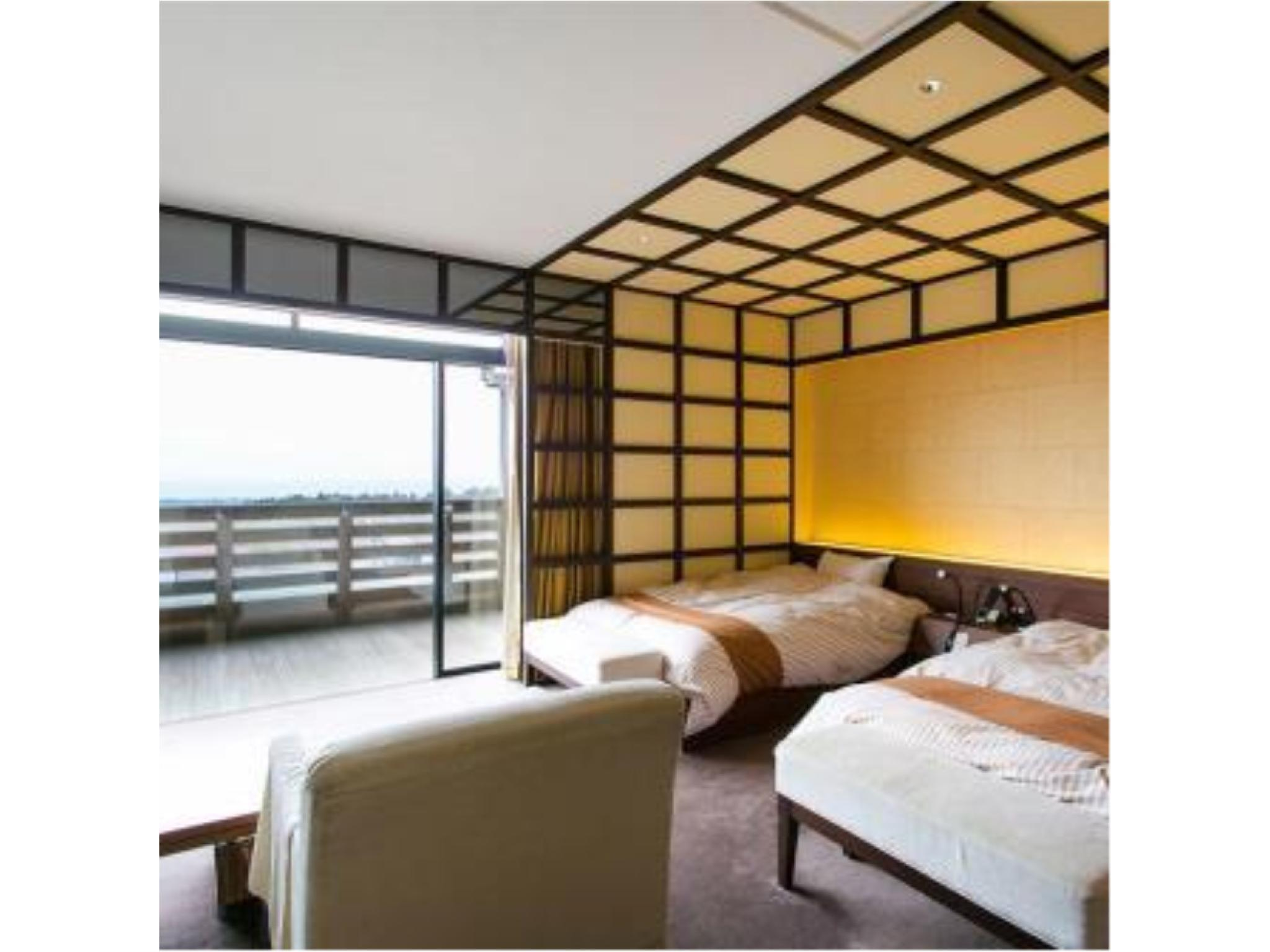 다다미 침대 객실 (Japanese/Western-style Mikuni Suite with Open-air Bath (2 Beds, West Wing))