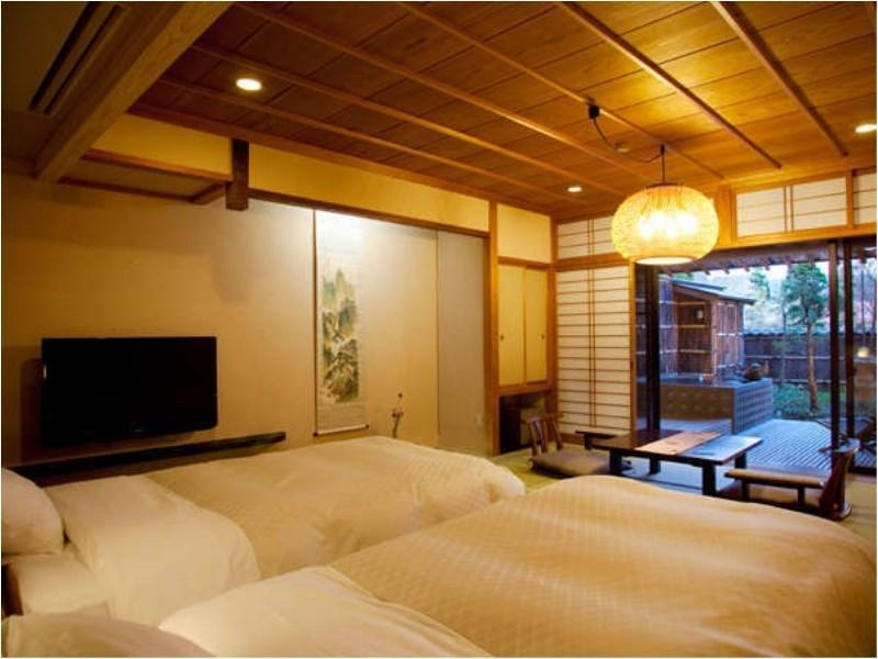 Japanese Style Twin Bed Room with Private Open Air Onsen in the Little Japanese Garden