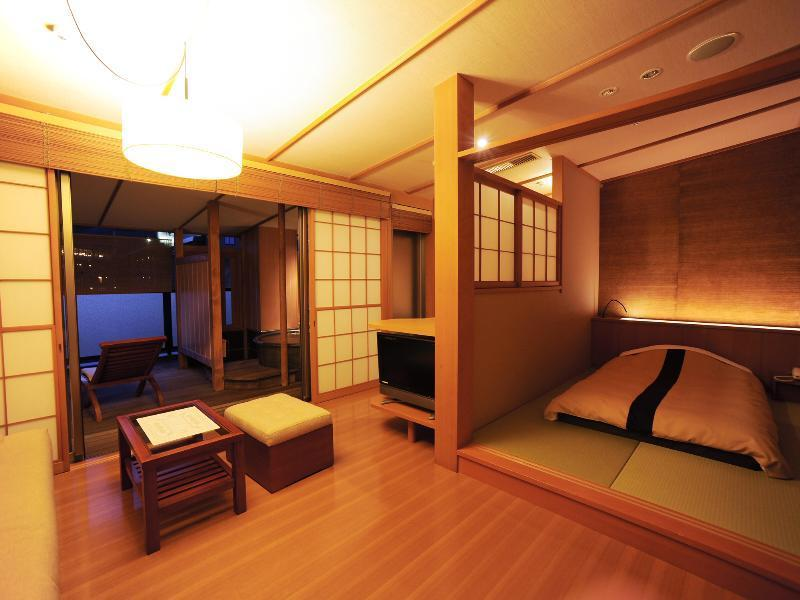 本館 風の庵 和モダンスタンダードツイン 禁煙 露天風呂付|14.8平米 (Standard Modern Japanese-style Twin Room with Open-air Bath (Kaze no Iori Type, Main Building))