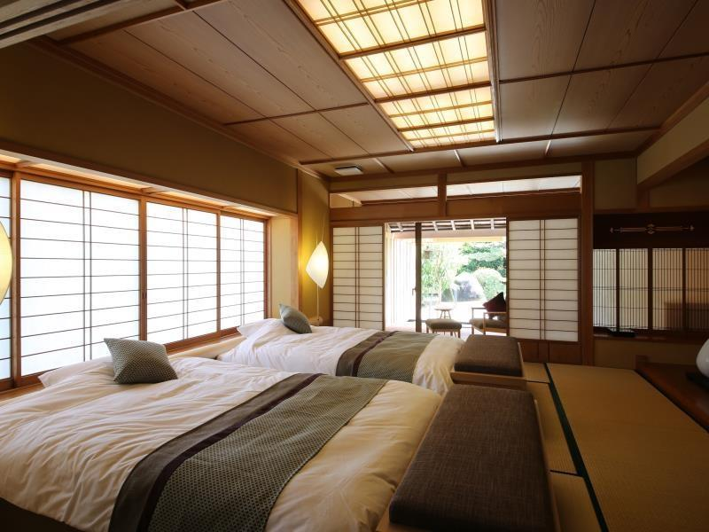 Japanese-style Twin Room with Open-air Bath & Foot Bath (tatami Japanese-style Room+Japanese-style Twin, Tsubaki Type)