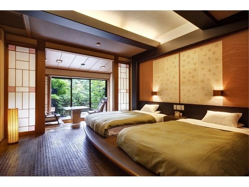 다다미 객실 (Modern Japanese-style Twin Room with Garden Open-air Bath (West Wing))