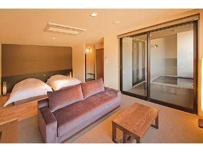 Twin Room with Open-air Hot Spring Bath (Kaze-no-Yakata Wing)