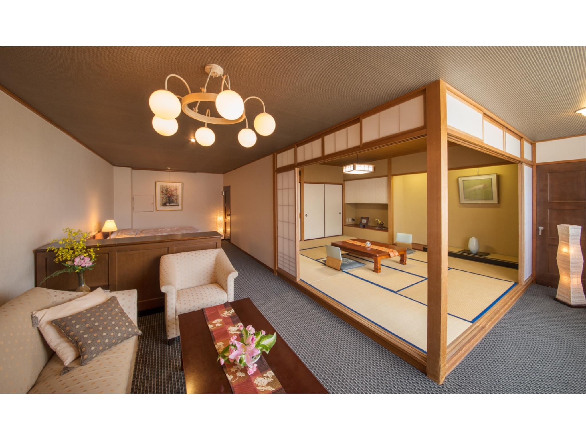 Japanese/Western-style Corner Room with Bed/s (Tosenkaku Wing)