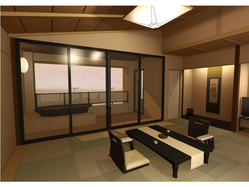 Japanese-style Room(12 tatami+6 tatami) with Beds & Open-air Bath (Lake Biwa Side)
