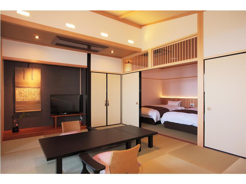 和室・禁煙 (Japanese-style Room(12 tatami+6 tatami) with Beds & Open-air Bath (Lake Biwa Side))