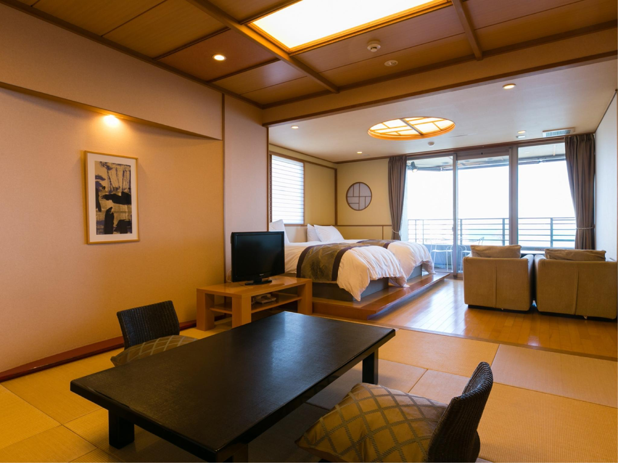 琵琶之風 附2張床和式房+露天風呂 (Japanese-style Room with Twin Beds & Open-air Bath (Biwa-no-Kaze Type))