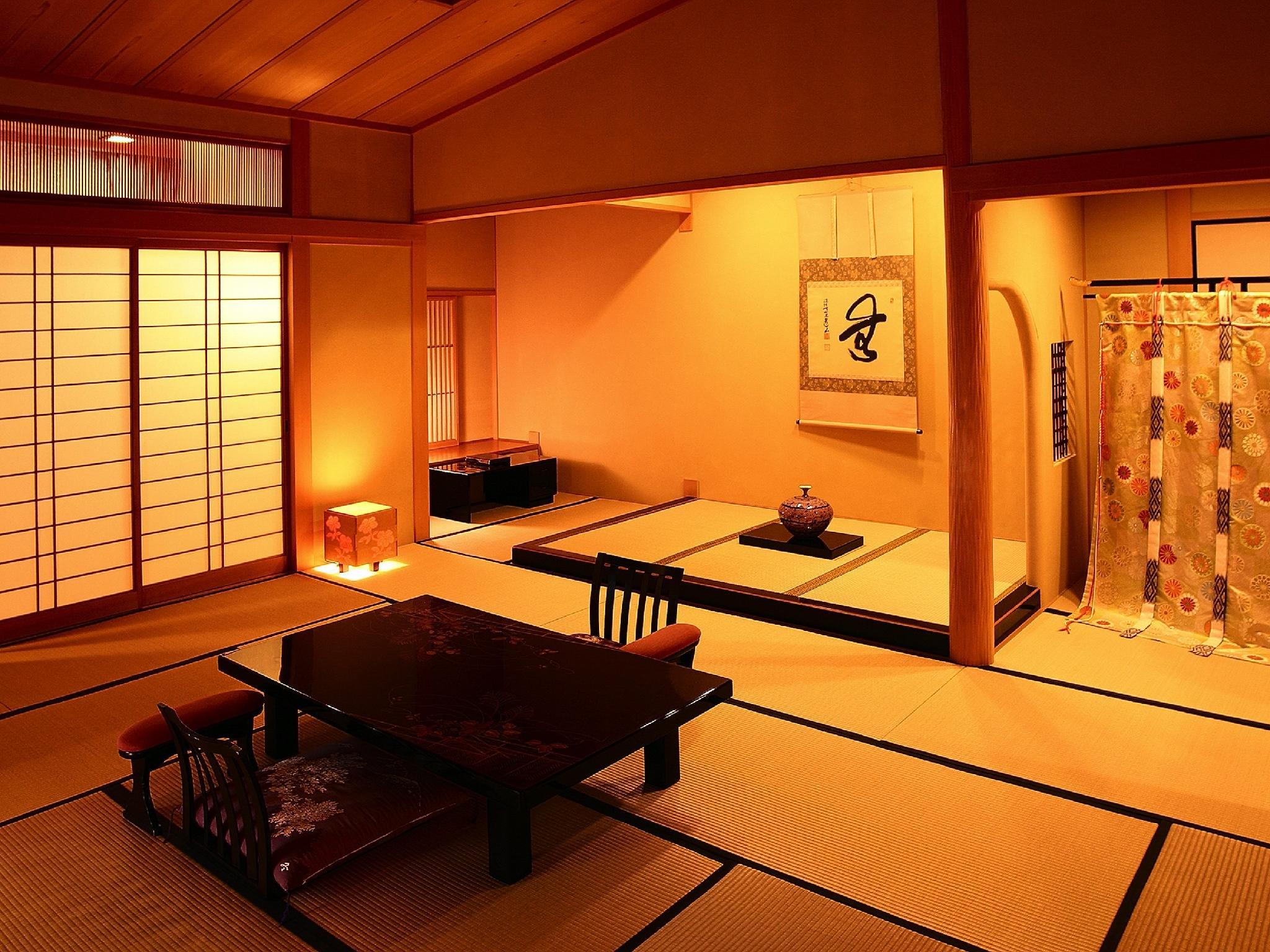 Suite with Semi Open-air Cypress Bath (Japanese-style Room + Reception Room + Tea Room, Azumanoma Type)