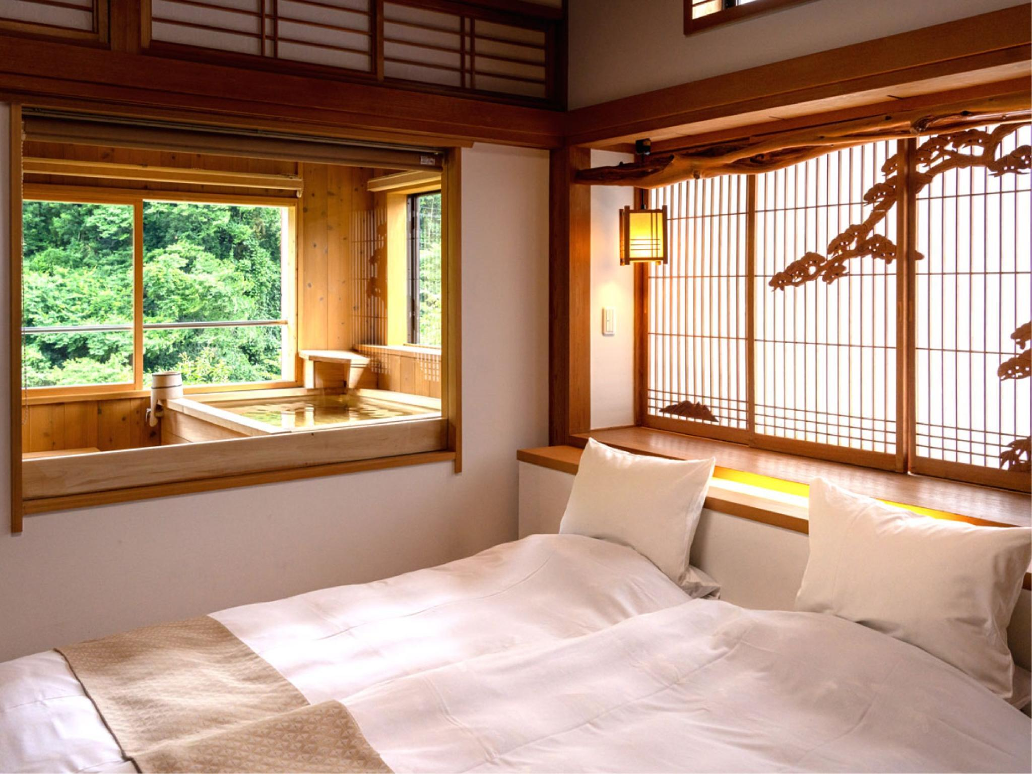 다다미 침대 객실(별관/귀빈실/KAME/전망탕) (Japanese/Western-style Suite with Scenic View Bath (Kame Type, Annex))