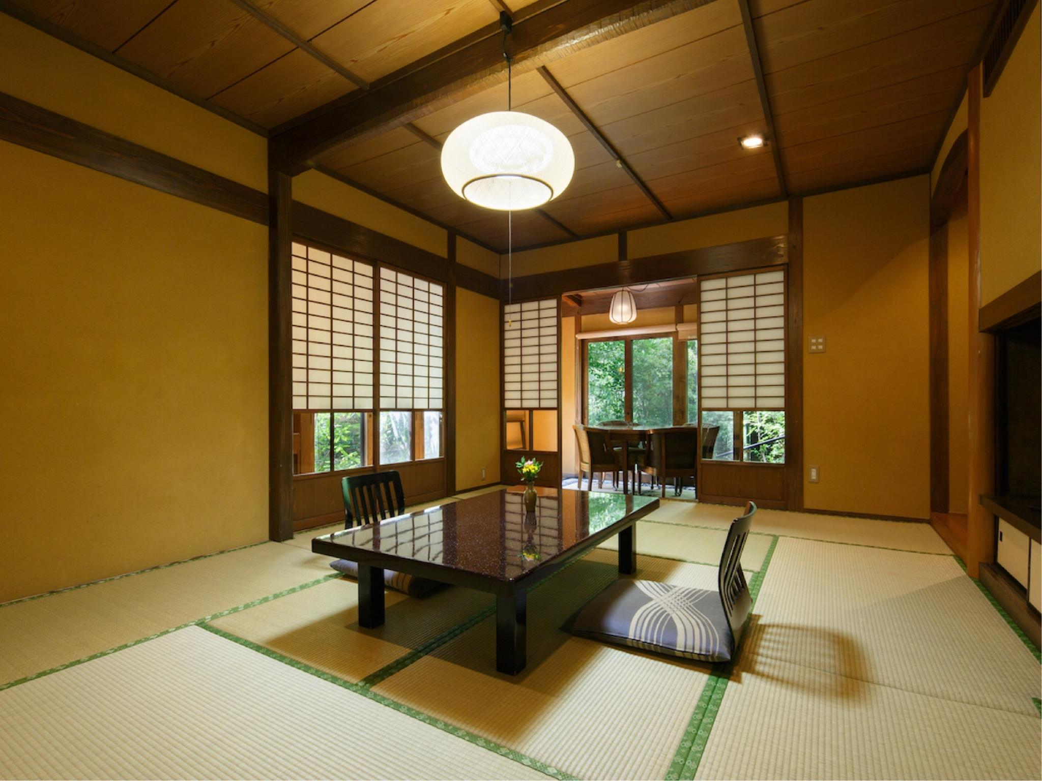 和室二間|12.5畳+次の間4.5畳 (Japanese-style Room with Semi Open-air Bath (Type D))