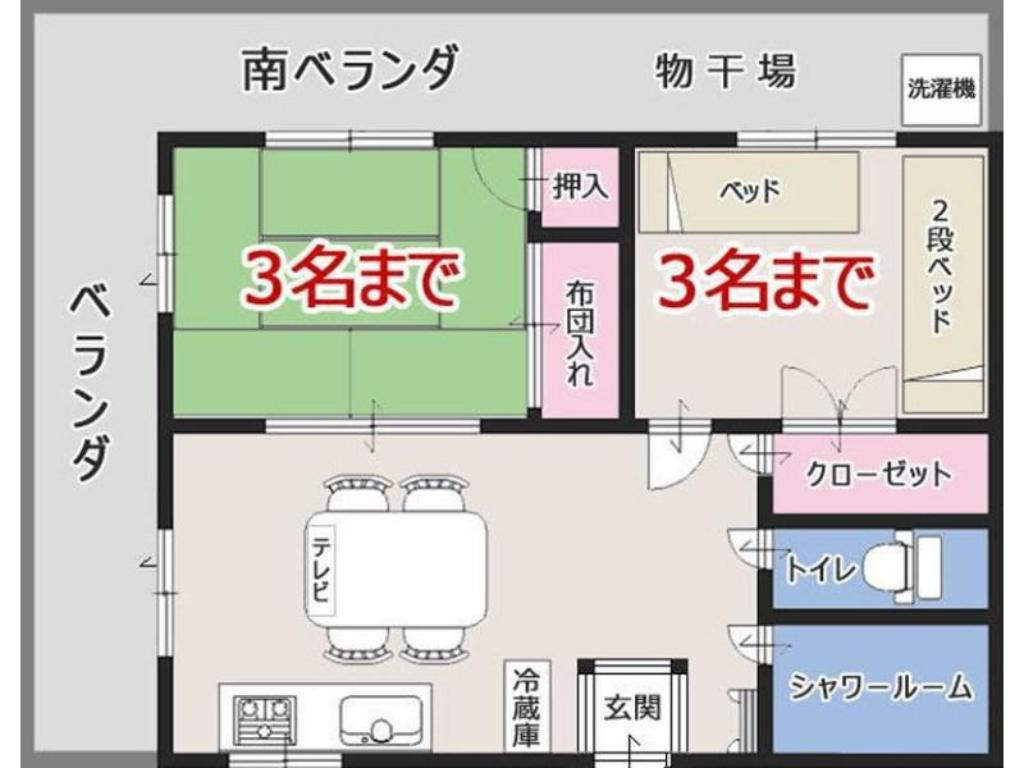 Japanese/Western-style Room (2 Bedrooms + Dining & Kitchen, No. 302)