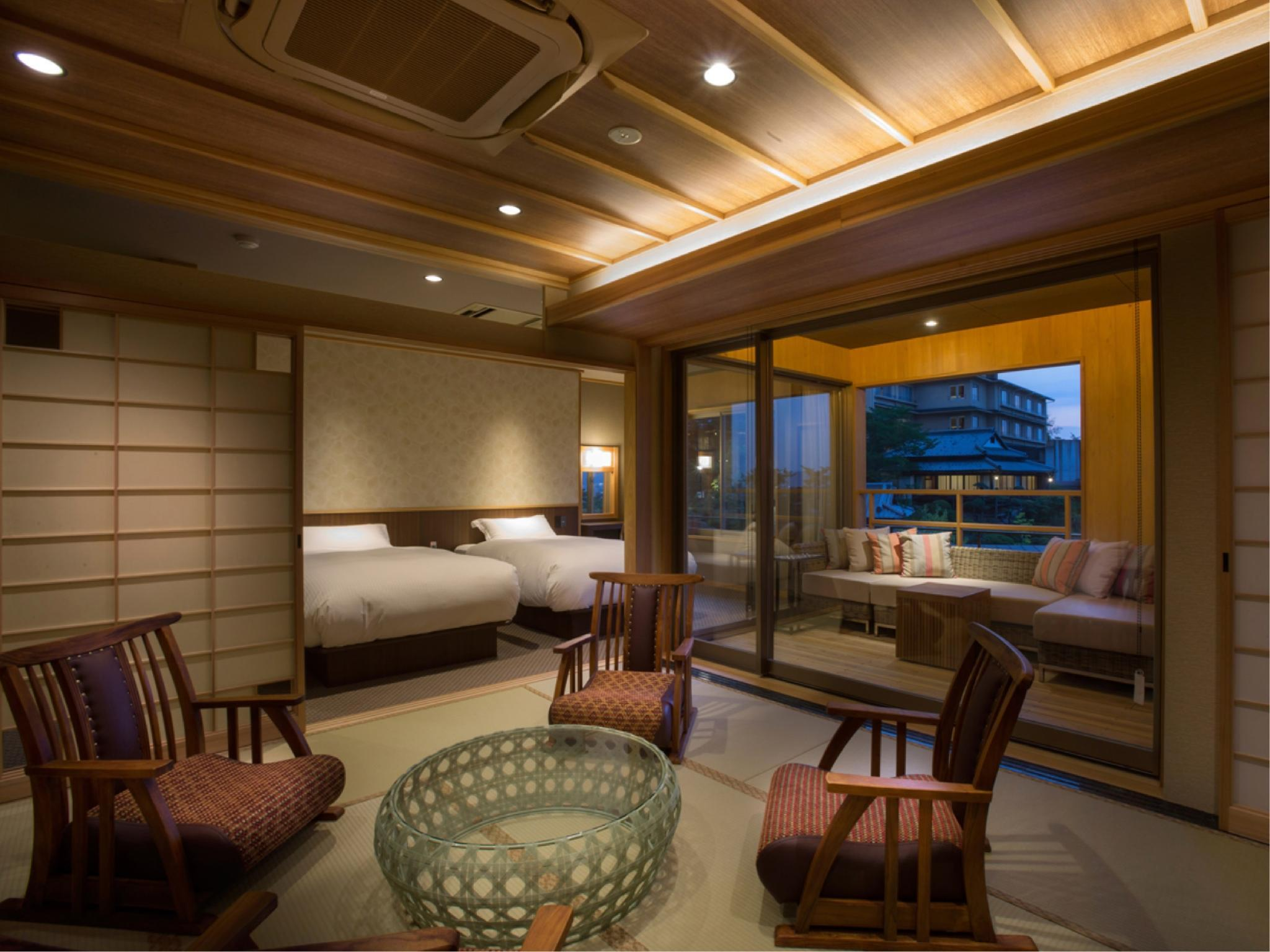 Japanese/Western-style Room with Open-air Bath (Type A, Sansuikaku Type, Annex Wing) *New guestroom